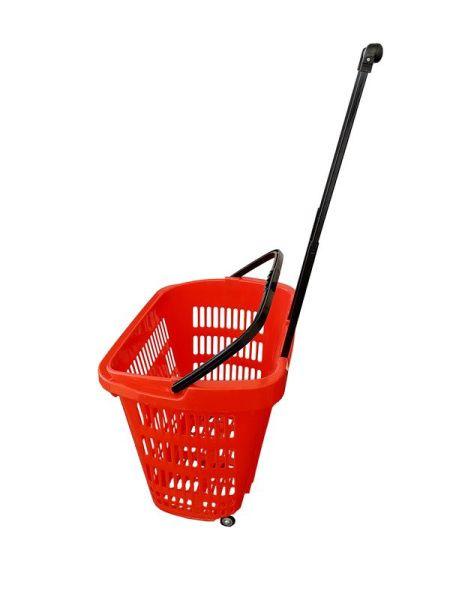 Plastový nákupní košík na kolečkách středně velký - červený