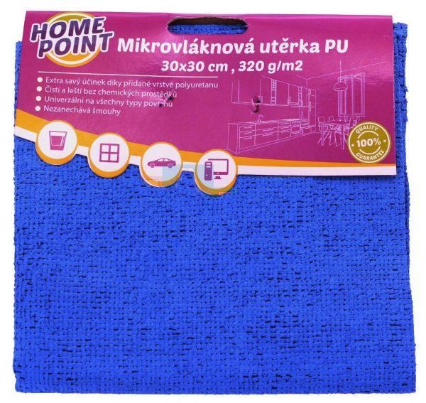 Mikrovláknová utěrka PU, 30 x 30 cm, 320 g, PU - modrá a žlutá