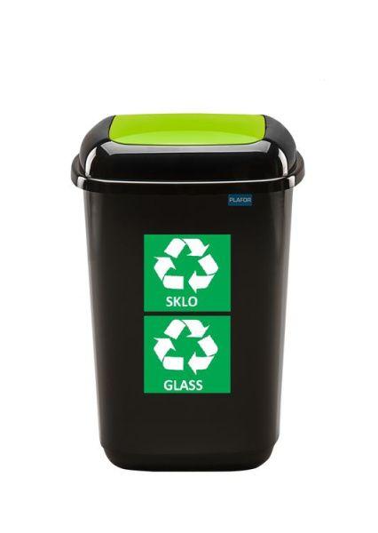 Plafor Odpadkový koš na tříděný odpad 28 l zelený, sklo